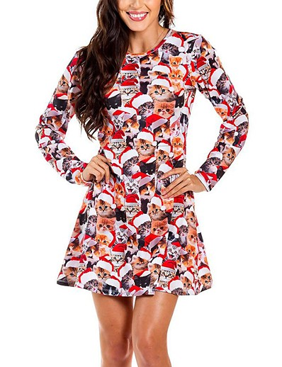 cheap CHRISTMAS-Women's A-Line Dress Knee Length Dress - Long Sleeve Print Fall Winter Casual Christmas 2020 White Blue Red Yellow Army Green Green Dusty Blue S M L XL