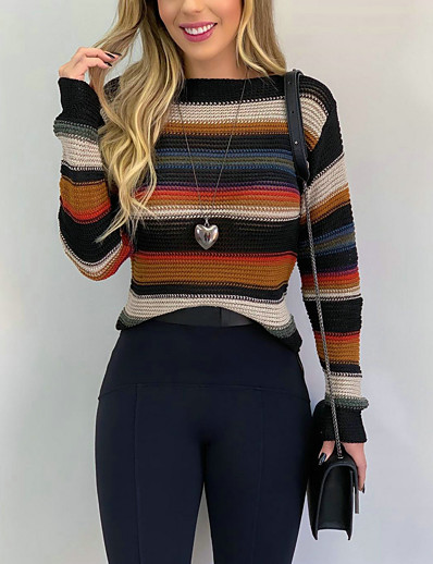 cheap Sweaters & Cardigans-Women's Basic Striped Color Block Sweater Long Sleeve Sweater Cardigans Crew Neck Winter Blushing Pink Khaki