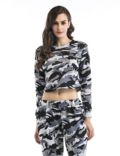cheap Sports Athleisure-Women's Sweatshirt Pullover Sweatshirts Fashion Crew Neck Color Block Camouflage Cute Sport Athleisure Sweatshirt Long Sleeve Comfortable Everyday Use Causal Daily Casual
