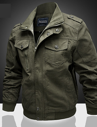 cheap Men's Outerwear-Men's Stand Collar Winter Jacket Regular Solid Colored Daily Long Sleeve Cotton Black Army Green Khaki M L XL / Sports