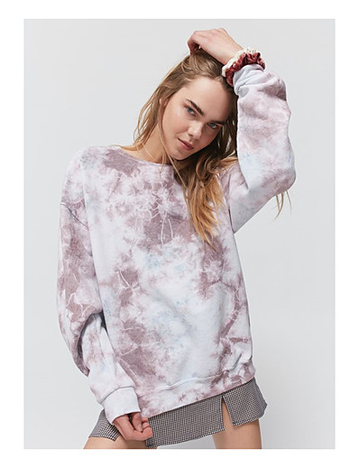 cheap Hoodies & Sweatshirts-Women's Pullover Sweatshirt Tie Dye Daily Basic Hoodies Sweatshirts  Blue Purple Orange