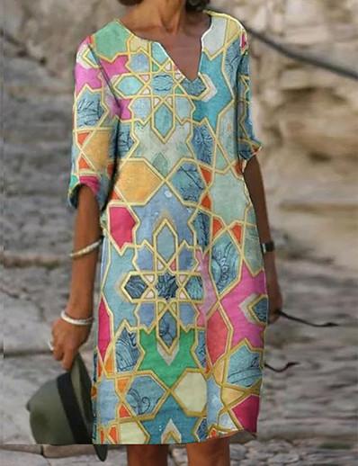cheap Casual Dresses-Women's Shift Dress Knee Length Dress - Half Sleeve Tribal Print Fall V Neck Casual Daily Loose 2020 Blue S M L XL XXL XXXL