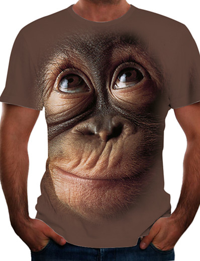 cheap Men's 3D-Men's Tees T shirt 3D Print Graphic Orangutan Animal Print Short Sleeve Party Tops Chic & Modern Funny Comfortable Big and Tall Black Blushing Pink Brown