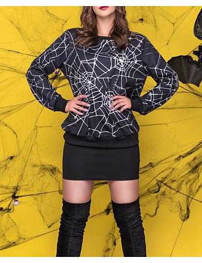 cheap HALLOWEEN 2020-Men's Women's Halloween Pullover Sweatshirt Print Round Neck Halloween Hoodies Sweatshirts  Black