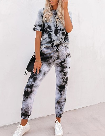 cheap JUMPSUITS & ROMPERS-Women's Basic Tie Dye Two Piece Set Set Pant Drawstring Tops