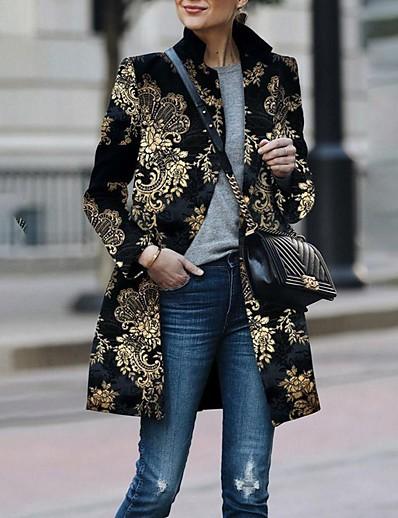 cheap OUTERWEAR-Women's Fall & Winter Shirt Collar Coat Regular Plants Daily Basic Black S M L XL