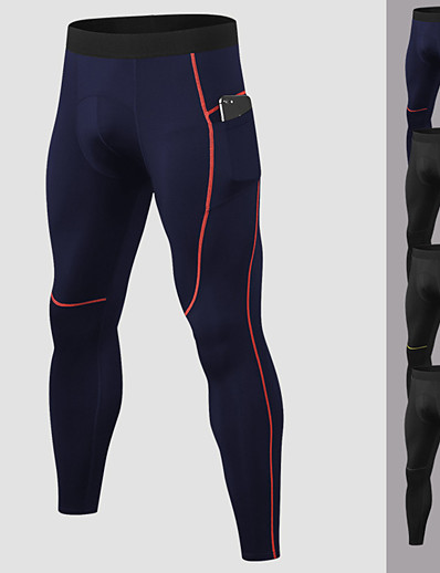 cheap Running, Jogging & Walking-YUERLIAN Men's Running Tights Leggings Compression Pants Athletic Base Layer Bottoms with Phone Pocket Spandex Fitness Gym Workout Performance Running Training Breathable Quick Dry Moisture Wicking