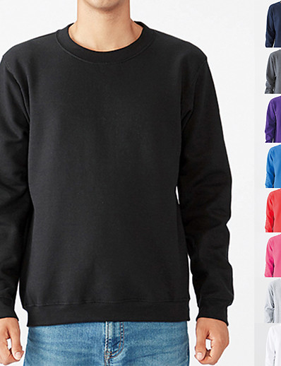 cheap Sports Athleisure-Men's Sweatshirt Pullover Sweatshirts Black White Blue Pure Color Oversized Jewel Neck Fleece Cotton Solid Color Cool Sport Athleisure Top Long Sleeve Breathable Soft Comfortable Exercise & Fitness