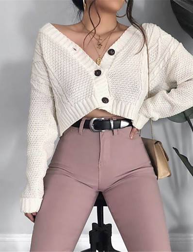 cheap Sweaters & Cardigans-Women's Cardigan Plain Solid Color Knitted Acrylic Fibers Basic Long Sleeve Loose Sweater Cardigans Fall Spring V Neck Blushing Pink Khaki White
