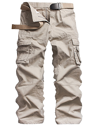 cheap Men's Bottoms-Men's Basic Tactical Cargo Outdoor Cotton Daily Slim Pants Full Length Solid Colored Classic Army Green Khaki White Black Dark Gray / Fall / Winter