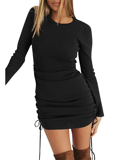 cheap Sweater Dresses-Women's Sweater Jumper Dress Short Mini Dress Black Khaki Long Sleeve Drawstring Fall Winter Round Neck Hot Sexy 2021 S M L XL