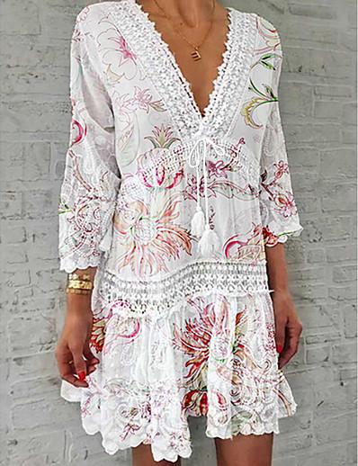 cheap Boho Dresses-Women's Shirt Dress Short Mini Dress - 3/4 Length Sleeve Floral Lace Print Summer V Neck Casual Hot vacation dresses 2020 White S M L XL XXL 3XL 4XL