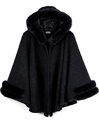 abordables Tendances 2021-cape poncho d'hiver pour femme avec bordure en fausse fourrure& doublé polaire, noir