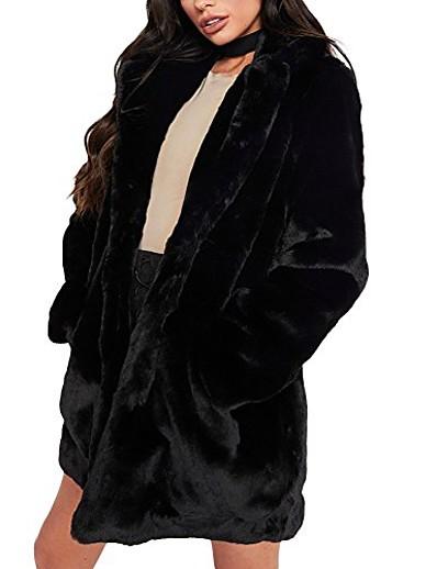abordables Manteaux & Trenchs Femme-Femme Manteau de fausse fourrure Longue Couleur Pleine Quotidien basique Fausse Fourrure Blanche Noir Rose Gris clair S M L XL