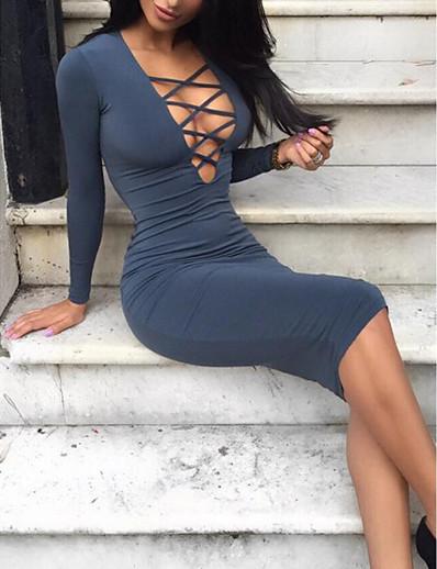 abordables ROBES-Femme Robe Trapèze Robe Midi - Manches Longues Couleur unie Col en V Mince Blanche Noir Gris S M L XL