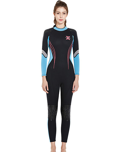 cheap Rash Guards-Dive&Sail Women's Full Wetsuit 3mm SCR Neoprene Diving Suit Thermal Warm Long Sleeve Front Zip - Diving Water Sports Solid Colored Autumn / Fall Spring Summer / Winter / Micro-elastic / Athletic