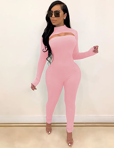 cheap JUMPSUITS & ROMPERS-Women's Ordinary Black Blushing Pink Jumpsuit Solid Colored Cut Out