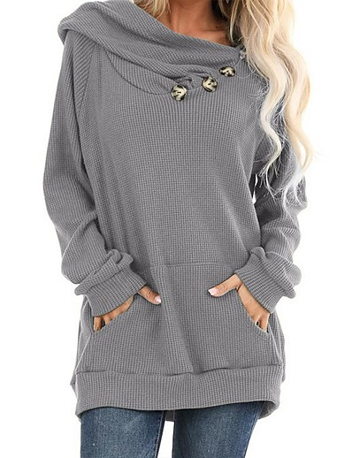 cheap NEW IN-Women's Pullover Hoodie Sweatshirt Solid Colored Button Daily Casual Basic Hoodies Sweatshirts  Black Green Gray