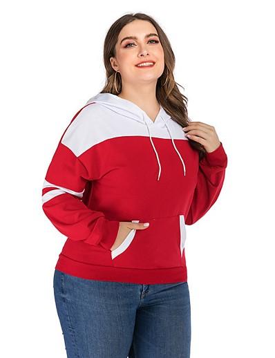preiswerte Plus Size Pullover-Damen Pullover Hoodie Sweatshirt Einfarbig Alltag Grundlegend Kapuzenpullover Sweatshirts Lose überdimensional Rote