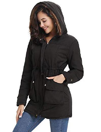 cheap Down& Parkas-womens military hooded warm winter faux fur lined parkas anroaks long coats black