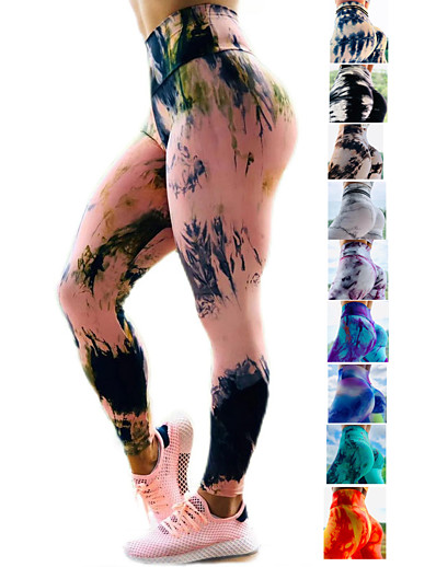 cheap SPORTSWEAR-Women's High Waist Yoga Pants Ruched Butt Lifting Leggings Tummy Control Butt Lift 4 Way Stretch Tie Dye Dark Yellow Black / Red Black / Yellow Fitness Gym Workout Running Sports Activewear High