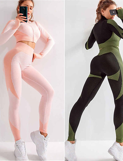 cheap Running, Jogging & Walking-Women's 2 Piece Seamless Activewear Set Yoga Suit Compression Suit Athletic 2pcs Long Sleeve High Waist Nylon Quick Dry Breathable Soft Fitness Gym Workout Running Active Training Jogging Sportswear