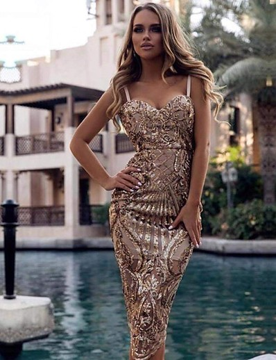 cheap DRESSES-Women's A-Line Dress Midi Dress - Sleeveless Solid Color Embroidered Summer Sexy Party Going out 2020 Gold S M L XL XXL
