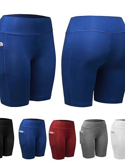 cheap Running, Jogging & Walking-Women's Compression Shorts Running Tight Shorts Athletic Base Layer Bottoms with Phone Pocket Fitness Gym Workout Running Jogging Training Breathable Quick Dry Soft Sport Solid Colored White Black