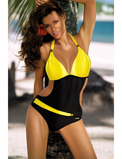 cheap SWIMWEAR-Women's Cross Block One-piece Swimsuit Cut Out Halter Color Block Swimwear Bathing Suits Blue Yellow Blushing Pink Green / Padded Bras
