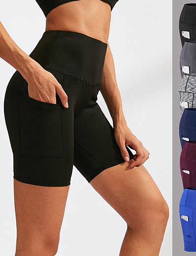cheap Running, Jogging & Walking-YUERLIAN Women's High Waist Compression Shorts Running Tight Shorts Athletic Underwear Bottoms with Phone Pocket Spandex Yoga Fitness Gym Workout Running Training Tummy Control Butt Lift Breathable