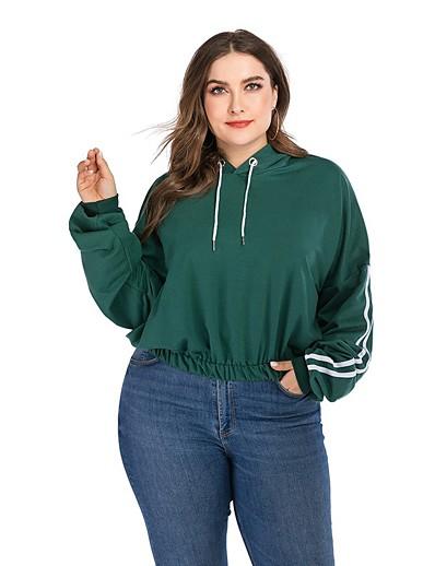 abordables Pulls & Gilets Grandes Tailles Femme-Femme Sweat-shirt à capuche Rayé Quotidien basique Pulls Capuche Pulls molletonnés Ample Vert