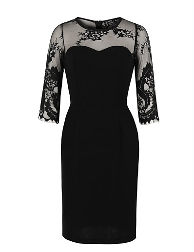 cheap HALLOWEEN 2020-Women's Sheath Dress Knee Length Dress - Half Sleeve Solid Color Lace Mesh Zipper Summer Elegant Daily 2020 Black S M L XL XXL
