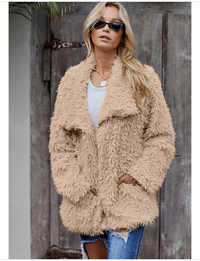 cheap Furs & Leathers-Women's Fall & Winter Teddy Coat Regular Solid Colored Daily Basic Fur Trim Khaki Gray S M L / Loose