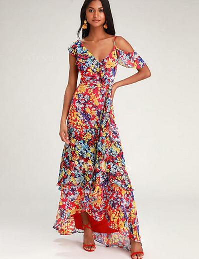 cheap 09/16/2020-Women's Swing Dress Maxi long Dress - Short Sleeve Print Print Fall V Neck Casual Boho Going out Weekend Loose 2020 Red S M L XL XXL