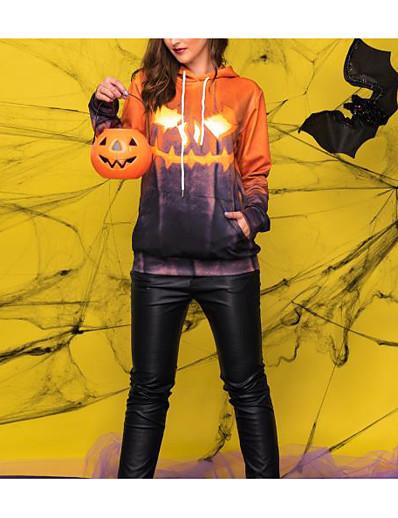 cheap HALLOWEEN 2020-Women's Pullover Hoodie Sweatshirt Print Halloween Hoodies Sweatshirts  Yellow