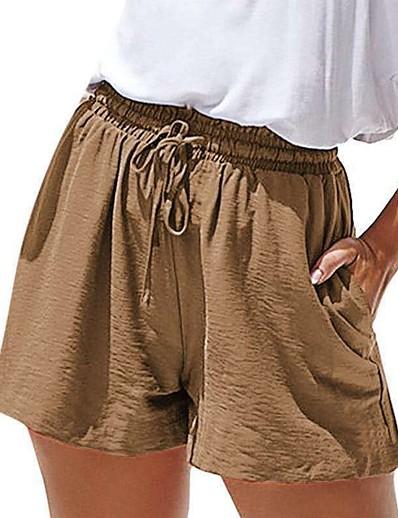 abordables Bas pour femmes-Femme basique Confort Ample Quotidien Short Pantalon Couleur Pleine Noir Rouge Vin