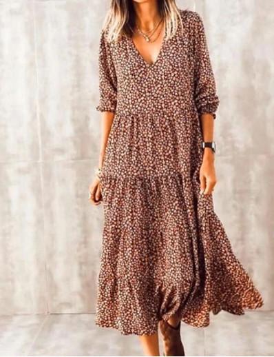 cheap Boho Dresses-Women's Swing Dress Midi Dress - Long Sleeve Print Print Summer V Neck Casual Boho Daily Vacation Loose 2020 Brown S M L XL XXL XXXL