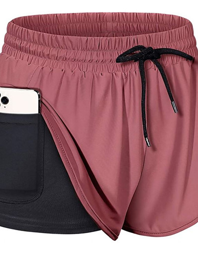 cheap Sportwear-Women's Running Shorts Athletic Bottoms 2 in 1 with Phone Pocket Liner Fitness Gym Workout Running Jogging Training Breathable Quick Dry Soft Sport Solid Colored Dark Grey Black Wine Army Green Grey