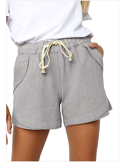 abordables Bas-Femme basique Séchage rapide Mince Quotidien Short Pantalon Couleur Pleine Court Bleu Kaki Vert
