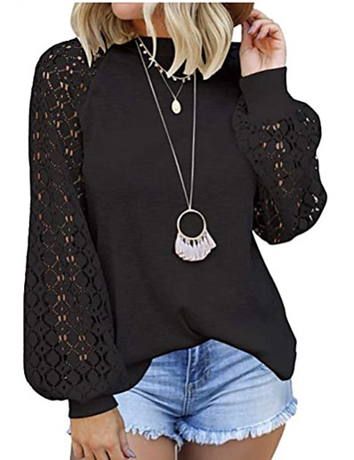cheap TOPS-Women's Blouse Shirt Solid Colored Long Sleeve Lace Patchwork Print Round Neck Tops Loose Basic Basic Top White Black Wine