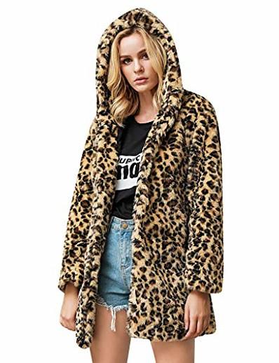 cheap Furs & Leathers-womens leopard faux fur coat long sleeve parka jacket outwear winter warm zip up hooded overcoat with pocket khaki