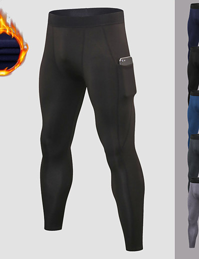 cheap Running, Jogging & Walking-YUERLIAN Men's Running Tights Leggings Compression Pants Athletic Base Layer Bottoms with Phone Pocket Fleece Spandex Winter Fitness Gym Workout Performance Running Training Breathable Quick Dry