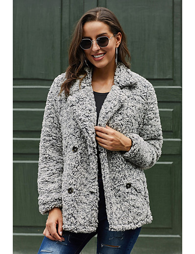 cheap Furs & Leathers-Women's Double Breasted Fall & Winter Teddy Coat Regular Solid Colored Daily Basic Fur Trim Dark Gray Brown Gray S M L / Loose