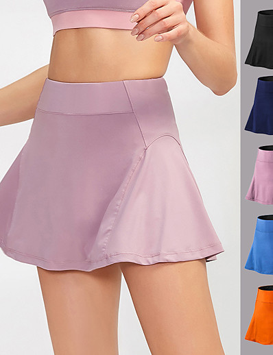 cheap Running, Jogging & Walking-YUERLIAN Women's High Waist Athletic Skort Running Skirt Tennis Skirt Athletic Bottoms Liner Spandex Fitness Gym Workout Performance Running Training Breathable Quick Dry Soft Sport Solid Colored