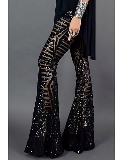 cheap Bottoms-Women's Basic Quick Dry Loose Club Wide Leg Pants Patterned Full Length Sequins High Waist Black Light Brown Brown