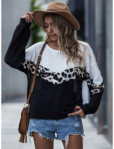 cheap Sweaters & Cardigans-Women's Casual Knitted Leopard Cheetah Print Pullover Long Sleeve Loose Sweater Cardigans Crew Neck Round Neck Fall Winter Black Purple Yellow