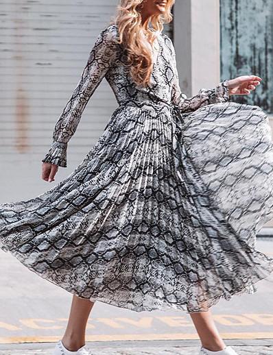cheap NEW IN-Women's Swing Dress Maxi long Dress - Long Sleeve Leopard Print Summer V Neck Sexy Belt Not Included 2020 White S M L XL XXL 3XL