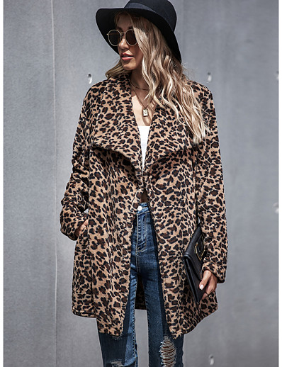 cheap Furs & Leathers-Women's Teddy Coat Long Leopard Print Daily Basic Khaki S M L / Fall / Winter / Going out