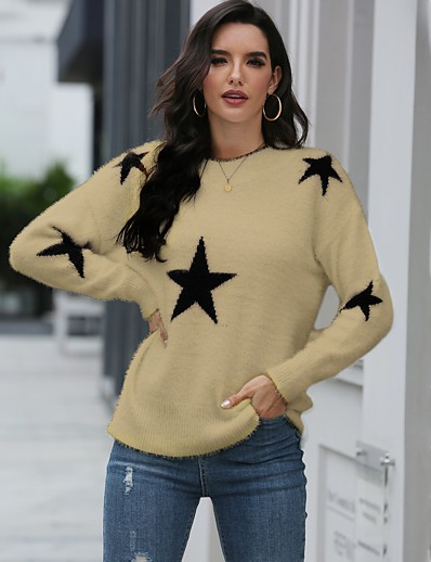 cheap Sweaters & Cardigans-Women's Basic Knitted Solid Colored Plain Sweater Long Sleeve Loose Sweater Cardigans Crew Neck Round Neck Fall Winter White Black Khaki