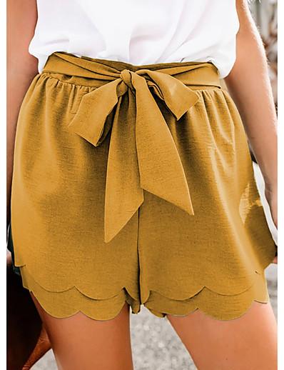 cheap Bottoms-Women's Basic Sports Slim Daily Shorts Pants Solid Colored Short Ruffle Black Yellow Green